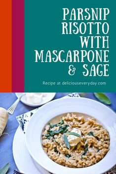 Coarsely grated parsnip gives a nutty and lovely flavour to this Parsnip Risotto recipe. Baby spinach gave a burst of fresh colour to the pale creaminess. Topped with sage and mascarpone you just have to give this risotto recipe a try. Bhg Recipes, Easy Healthy Recipes, Vegan Recipes, Vegetarian Recipes Dinner, Vegan Dinners, Dinner Recipes, Christmas Recipes Dinner Main Courses, Risotto Recipes, Baby Spinach