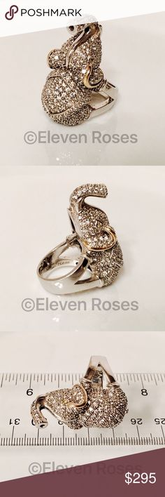 Huge Sterling & 14k Elephant Statement Bling Ring Extra Large Two Silver & Gold Elephant Statement Ring - Citrine Eyes - 925 Sterling Silver & 14k Gold - Hallmarked; 925, 14k, Thailand - US Size 7 Jewelry Rings