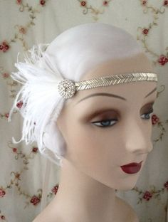 gold, silver or black 1920's flapper headband with vintage beaded band, vintage style rhinestone button and black white or ivory feathers