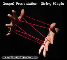 Gospel presentation where a piece of string illustrates that sin entangles us and that we need Jesus to free us / #gospel #preschooler #cccpinehurst #cccpinehurstcm #cmdisciple / To learn more, please visit: https://www.letthelittlechildrencome.com/child-evangelism-resources/Share-the-Gospel-with-Children-String-Magic/44