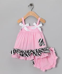 Take a look at this Pink Zebra Ruffle Babydoll Top & Diaper Cover - Infant by Royal Baby by Royal Gem Clothing on #zulily today!