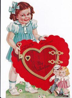 Vintage 1920's My Valentine Greetings Card  by poshtottydesignz