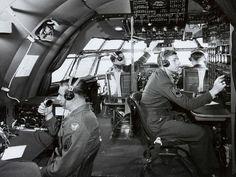 Boeing C-97 Stratofreighter Long Range Heavy Military Cargo Aircraft - Flight Deck (Pilot, Copilot, Flight Engineer and Radio Operator)