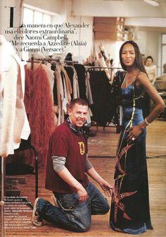 alexander mcqueen f/w 2000, naomi campbell and alexander mcqueen in harper's bazaar 200