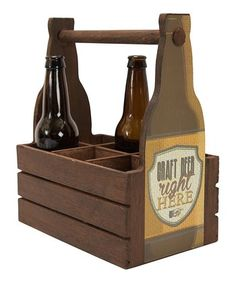 'Craft Beer Right Here' Wood Bottle Caddy
