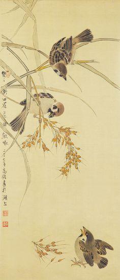 工笔花鸟 - 胡高锋 Sumi E Painting, Korean Painting, Japan Painting, Chinese Painting, Art Asiatique, China Art, Japan Art, Bird Art, Japanese Nature