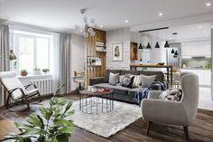Fiatal család háromszobás lakása - skandináv lakberendezés színekkel, mintákkal, fa textúrákkal - Lakberendezés trendMagazin The Dark Side, Cribs, Master Bedroom, Sweet Home, House Design, Patio, Living Room, Interior Design, Outdoor Decor