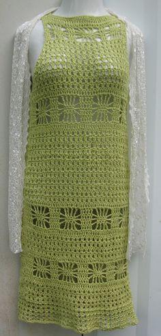Crochet dress, beach cover up, bikini cover, resort wear, summer dress, bohemian, cotton linen