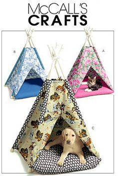 PET TEE PEE Tent Sewing Pattern - Dog Cat Pets Animal Tents Teepee Doghouse