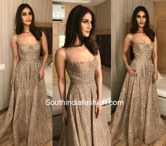 It was a glittery gold gown for Vaani Kapoor at the Aditya Birla Awards. Gown Party Wear, Party Wear Indian Dresses, Indian Bridal Outfits, Dress Indian Style, Pakistani Wedding Dresses, Indian Fashion Dresses, Indian Wedding Outfits, Indian Designer Outfits, Designer Dresses