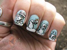 Calvin & Hobbes snowman nails