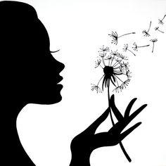 Löwenzahn Mädchen - - - New Ideas Dandelion Drawing, Dandelion Flower, Black Silhouette, Woman Silhouette, Cool Art Drawings, Drawing Ideas, Black Flowers, Fairy Art, Pretty Wallpapers