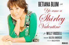 """Betiana Blum se despide de la comedia ovacionada mundialmente """"Yo amo a Shirley Valentine""""  Siete únicas semanas! no te la pierdas!  Shirley es una mujer harta de una vida rutinaria en la que su marido casi no le habla y donde ella es la madre la esposa la vecina y ya no recuerda quien era Shirley Valentine. Con todo el amor y ternura termina hablando con la pared para no enloquecer cuando una amiga la invita a Grecia deja todo y huye sin imaginarse lo que le espera en ese viaje que la…"""