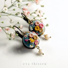 Shabby Blue. Pretty handmade polymer clay earrings. Made to order