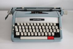 Privileg blue retro working portable typewriter with by Cottoni