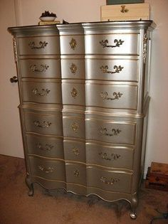 """French Provincial-- """"nickel"""" colored spray paint from Lowe's. The best metallic paint that doesn't come in a spray can is the Ralph Lauren collection at Home Depot. For the trim, Joann store has a pretty big selection of metallic paints Metallic Painted Furniture, Silver Furniture, Metal Furniture, Furniture Projects, Diy Furniture, Metallic Dresser, Furniture Stores, Painted Dressers, Furniture Design"""