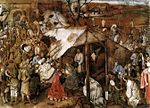 L'Adoration des mages, circa 1555-63, tempera sur toile, 124-169 cm, non signé, attribution douteuse. - La Peinture de Pieter Bruegel, même lorsqu'elle semble épisodique et anecdotique, est pénétrée d'une réalité humaine souvent amère et paradoxale; sa représentation des traditions et coutumes populaires est un pretexte à la satire, tantôt aimable, tantôt cruelle; les paysans eux-mêmes (les personnages que Bruegel traite avec le plus d'indulgence) n'échappent pas au grotesque des situations.