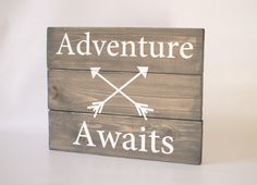Adventure Awaits - rustic wood sign, Pallet sign, rustic home decor, woodland decor, wood sign, grey sign on Etsy, $51.39 CAD
