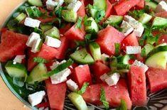 Summer salad with watermelon, feta and mint - Salat I Love Food, Good Food, Yummy Food, Mozarella, Watermelon And Feta, Food Porn, Vegetarian Recipes, Healthy Recipes, Pasta Salad Recipes