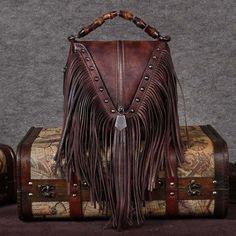 Yellow Leather Fringe Bag Shoulder Vintage Handbags with Bamboo Handle Fringe Purse, Fringe Bags, Yellow Leather, Brown Leather, Lv Bags, Boho Bags, Crossbody Bag, Tote Bag, Leather Fringe