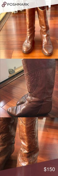Gorgeous Italian leather cowboy boots Cowboy boots with gorgeous flower patters throughout! These were handmade in Florence, Italy! Shoes