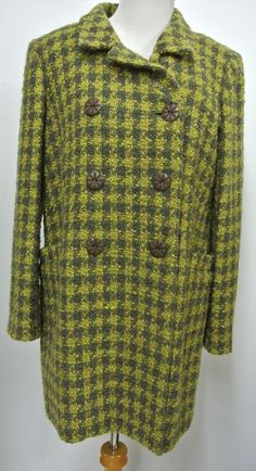 INC L-P Olive Green Tweedy Wool Bl Houndstooth Jacket Double Breasted Large Pet #INC #BasicJacket