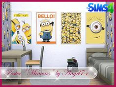 Sims 4 CC's - The Best: Minions Wallpaper, Paintings, Rugs and Doors by An...