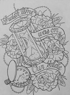 Desenho ampulheta e rosas