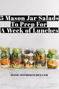 Here are 5 Mason Jar Salads To Meal Prep for a Week of Lunches you can prep in just one hour for your entire week ahead! Lots of helpful tips included.