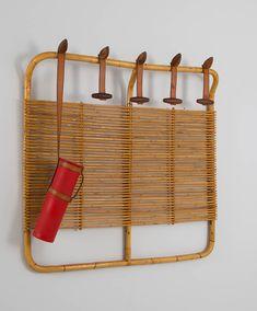 Vittorio Bonacina; Bamboo, Leather, Wood and Rattan Wall-Mounted Coat Rack with Umbrella Holder, 1970s.