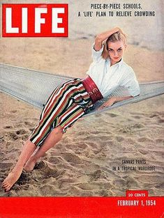 This Vintage February 1954 Life Magazine is complete and in very good condition. This magazine measures 10 x The front cover features Canvas Pants In A Tropical Wardrobe. Full of the stories of the day and outstanding vintage ads. Vintage Advertisements, Vintage Ads, Stripped Pants, Vintage Lockers, Life Cover, History Magazine, Look Magazine, Evolution Of Fashion, Vintage Artwork