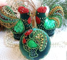 Купить НОВОГОДНИЕ ПЕТУШКИ бархатные игрушки на елку - новогодний петушок, петух…