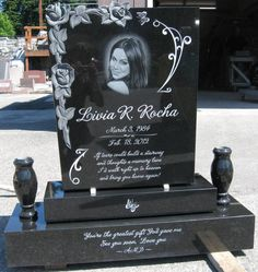 Custom Grave Marker & Diamond Etch portrait Cemetery Monuments, Cemetery Statues, Cemetery Headstones, Cemetery Art, Tombstone Designs, Gardens Of Stone, Dad In Heaven, Grave Flowers, Cemetery Decorations
