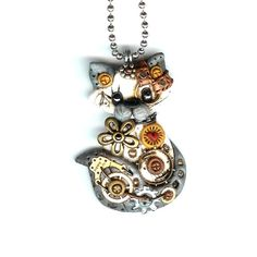 Steampunk siamois Himalayan Cat collier Polymer Clay par Freeheart1