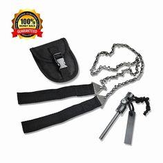 Survival Pocket Chain Saw Chainsaw 24 Inches Portable Hand Saw For Camping Hiking Backpacking Hunting Boy-scouts Emergency Gear Backyard Cleanup Pruning   Compass Fire Starter! >>> For more information, visit now : Backpacking gear