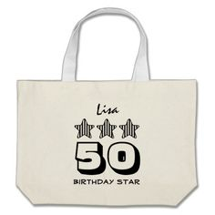 50 Birthday Star or ANY YEAR Custom Name Bags   To see more customizable striped Jaclinart gift items:   http://www.zazzle.com/jaclinart+striped+gifts?st=date_created&ps=120  #stripes #striped #pattern #jaclinart #design #create