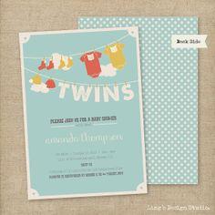 Vintage Twins Baby Shower Invitations Set  by LingsDesignStudio, $18.00