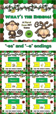 Review plural nouns with the fun, monkey-themed powerpoint review game. In this game, students must choose the correct end to make singular nouns into plural nouns. There are 20 questions and you just click on the arrows each question.
