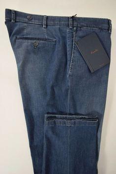 ZANELLA pantalone uomo CLASSICO 100% lana SCOZZESE blu grey