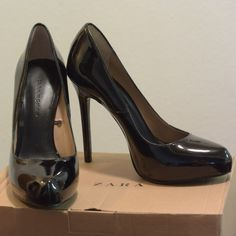 Zara Synthetic Patent Leather High Heel Court Shoe Worn once! Excellent condition. Small scratch on leather on right pair, but hardly visible. Size 6.5 (37). Comes with the box. Zara Shoes