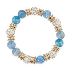 Check out the deal on Cool Blue Agate and Crystal Stretch Bracelet at The Paper Store