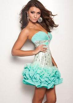Strapless Beaded Chiffon Homecoming Dress $136.19