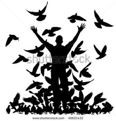 stock-vector-vector-silhouette-of-a-man-and-flock-of-pigeons-with-all-elements-as-separate-objects-46621432.jpg (450×470)