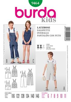 Kids Overalls Burda Sewing Pattern No. 9464. Age 6 to 11 years.
