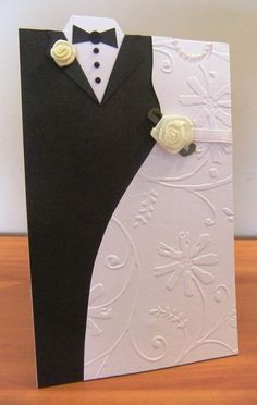Beautiful wedding card.  Love the DIY instructions. - Done 6/6/13.  Can make just suit for men's birthday or Father's Day card, or just dress for bridesmaid, Mother's Day, or birthday.