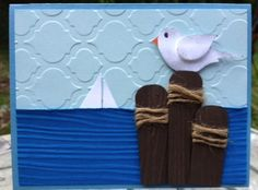 Seagull Card.  Great for Father's Day and Happy Retirement.  Stampin' Up! bird punch, Mosaic Madness & Wood grain embossing folders.  www.mailsomethingpretty.com