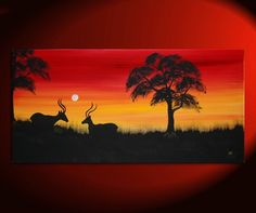 Sunset Antelope Painting Abstract Tree Art Happy Calming Mood Original Painting African Dusk Yellow Red and Black Silhouette Art 48x24. $275.00, via Etsy.