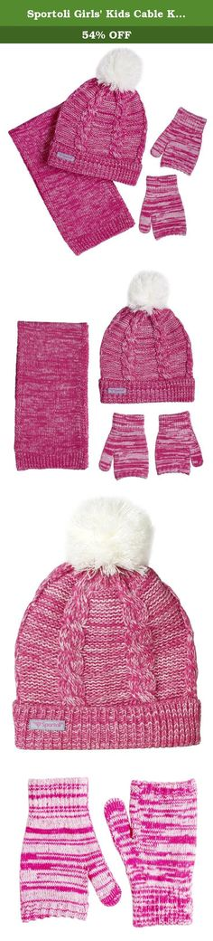 Sportoli Girls' Kids Cable Knit Cold Weather Accessory Set Warm Pull On Hat Scarf and Gloves (Pink / White). About the Brand: At Sportoli®, we keep the active people in mind. Our products are constructed of the most durable materials to create convenient everday items and withstand the heaviest of sport and activity. Our affordable prices allow all people at all budgets to benefit of great products. About this Product: An ultimate blend of warmth, toastiness and style. This toasty winter...
