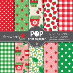 Strawberry digital paper GREEN digital paper, girls birthday decor, strawberry design invites, red teal pink digital paper, strawberry jam