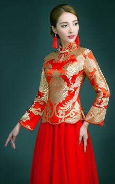 YiMengGe-15158 Long sleeve mandarin collar gold and red brocade long XiuHe traditional Chinese wedding dress 010